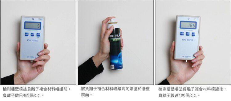 負離子複合材料噴罐實際檢測: