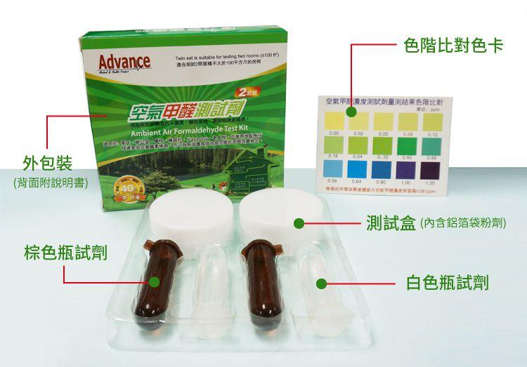 空氣甲醛測試劑2套裝(測試盒x2、棕色瓶試劑x2、白色瓶試劑x2)